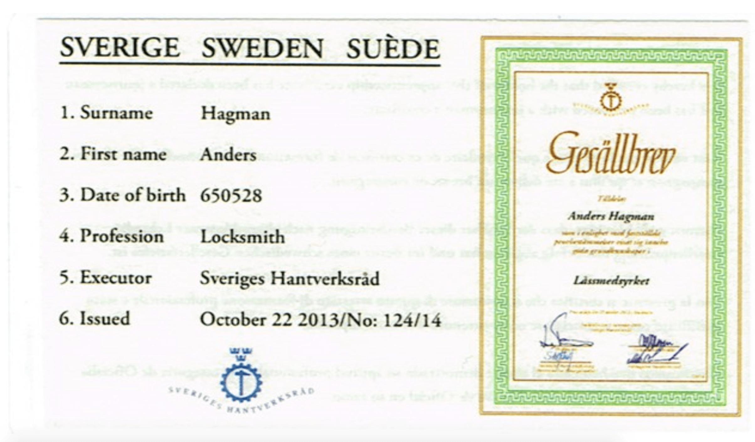 Anders Hagman gesällbrev